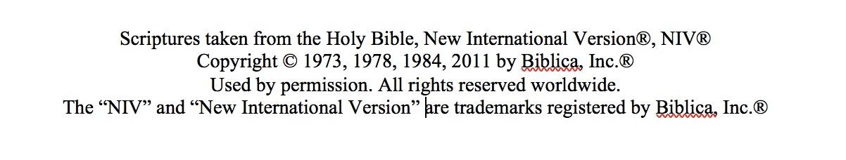NIV Copyright Info